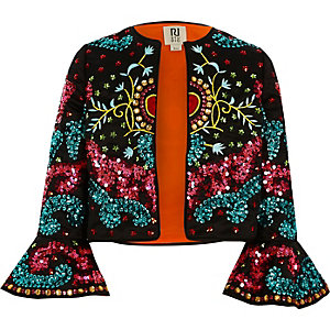 Girls black RI Studio embellished jacket