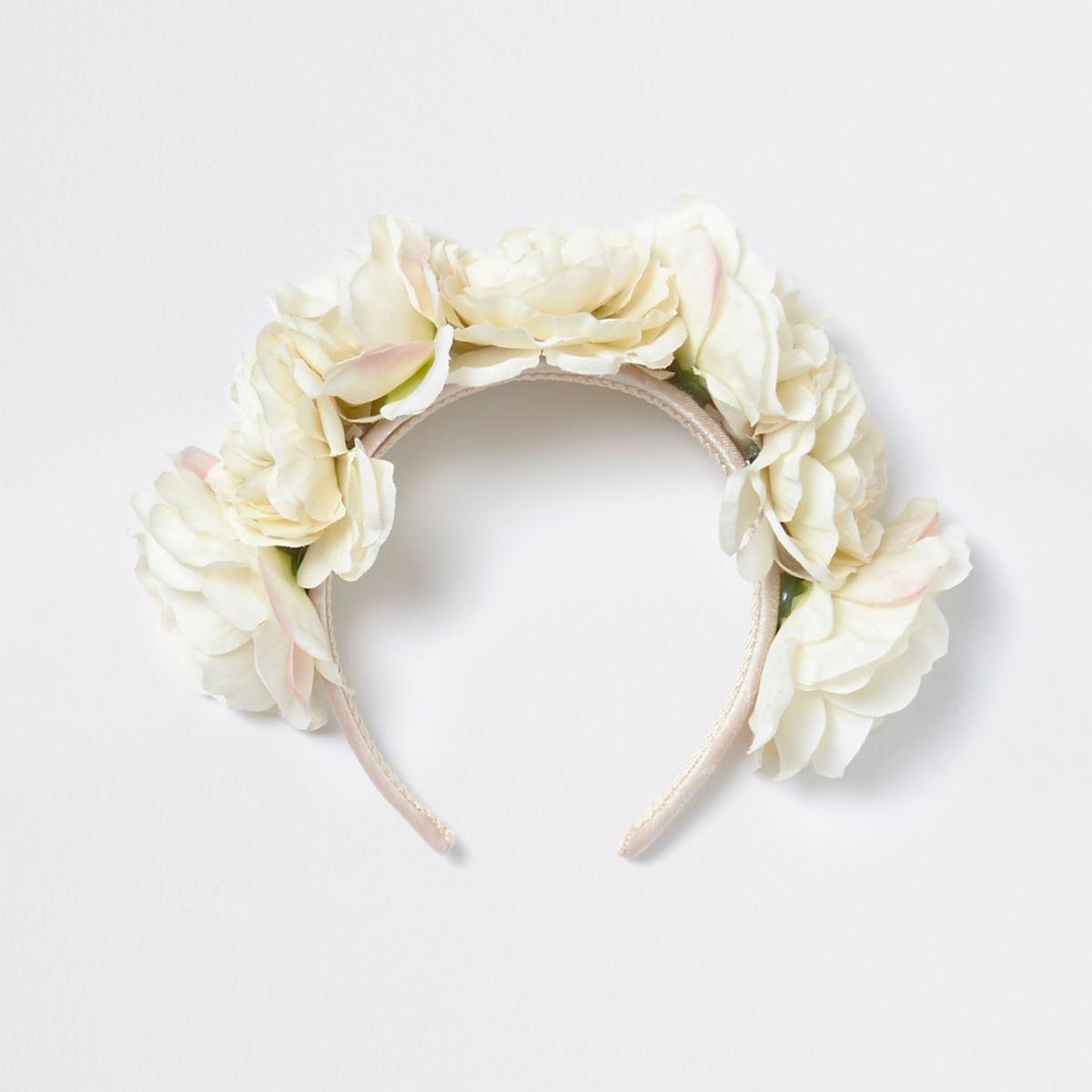 Serre-tête à guirlande de fleurs crème pour fille