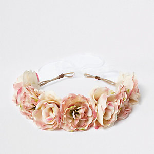 Girls cream flower garland tie-up head band