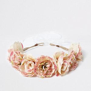Crème vast te knopen hoofdband met bloemen voor meisjes