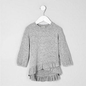Mini girls grey asymmetric frill knitted top