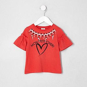 Mini - Rood T-shirt met 'mon petit'-print en ruches