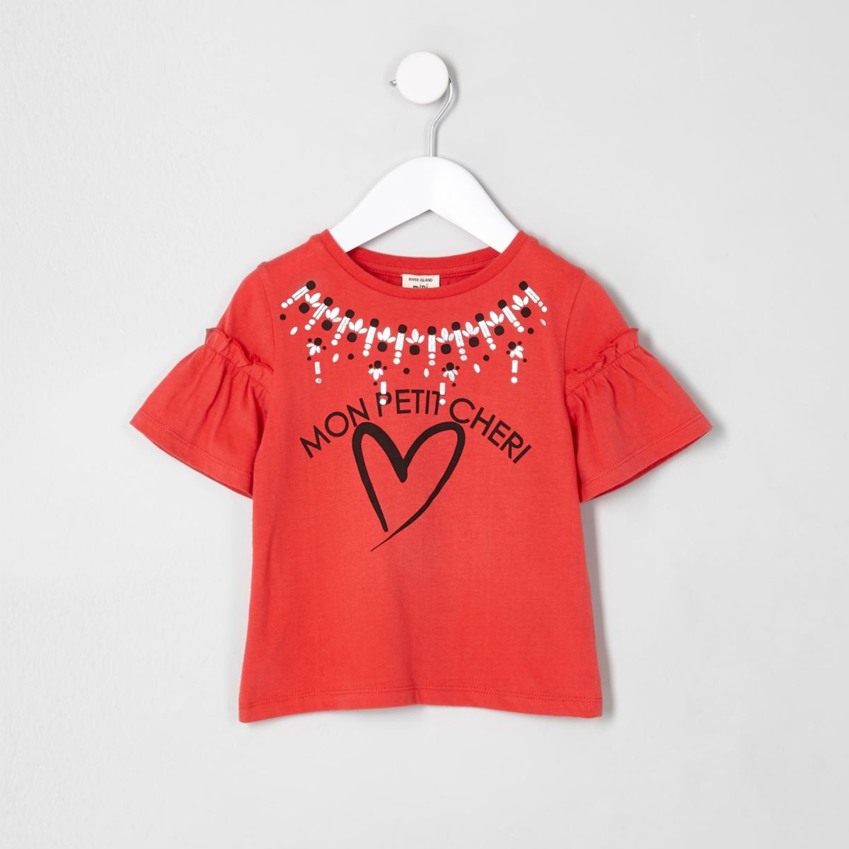 Mini girls red 'mon petit' frill  T-shirt