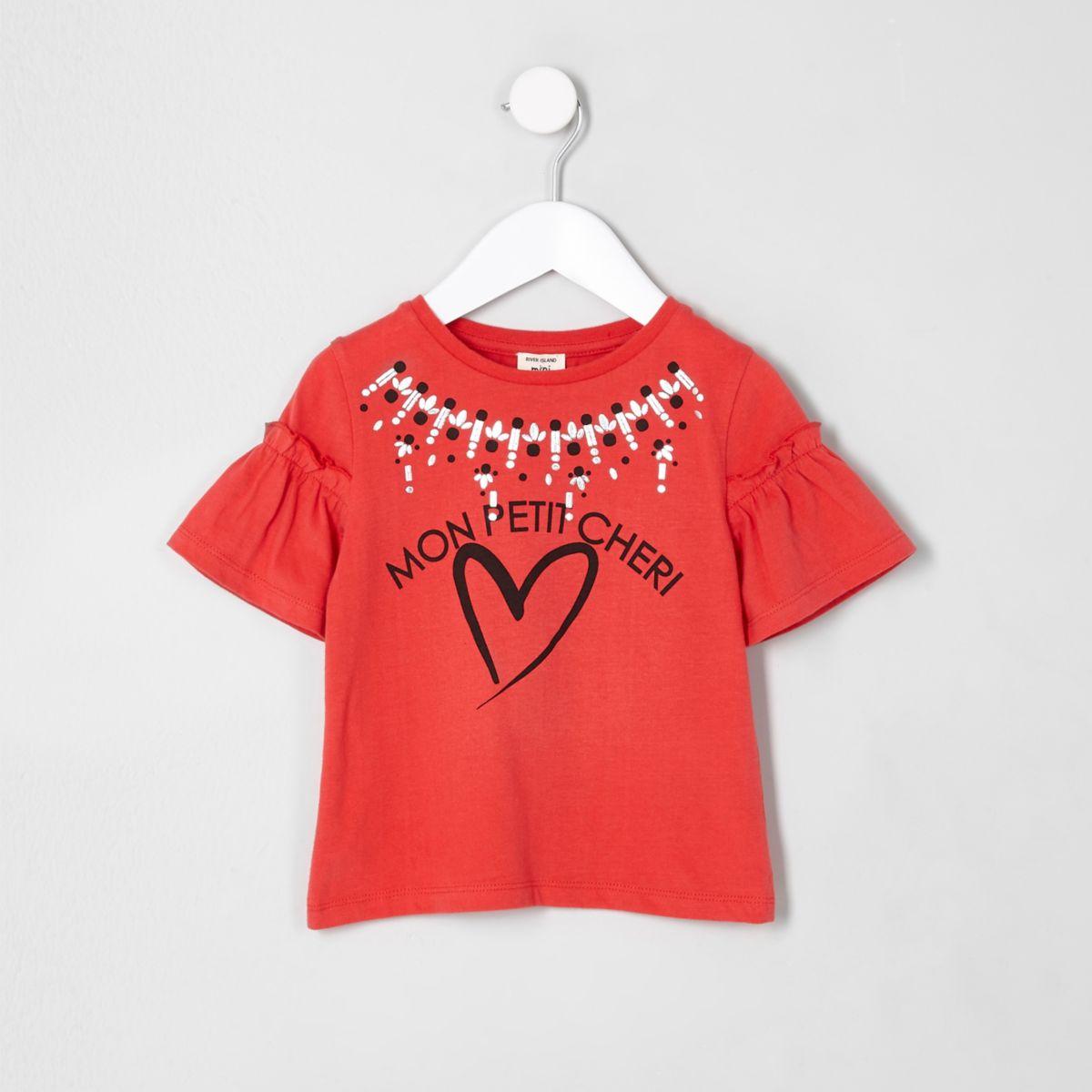 Mini girls red 'mon petit' frill  T-shirt