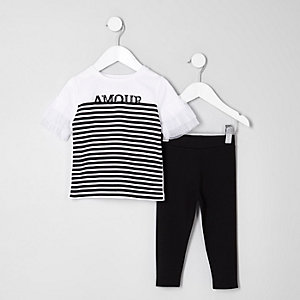 Mini girls white stripe print T-shirt outfit