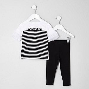 Mini - Outfit met wit gestreept T-shirt voor meisjes