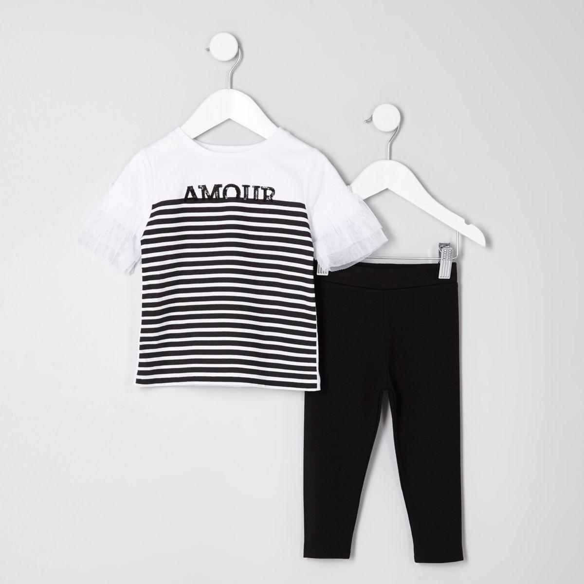 Mini girls white stripe print T-shirt outfit
