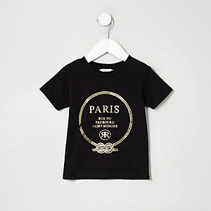 Mini girls black 'Paris' print T-shirt