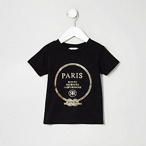 Mini girls black 'Paris' print T-shirt