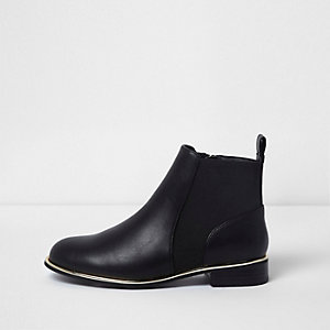 Girls black gold tone trim Chelsea boots