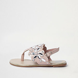 Girls pink jewel embellished sandals