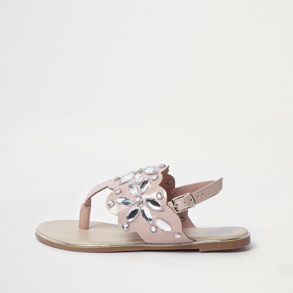 Girls pink jewel embellished sandals