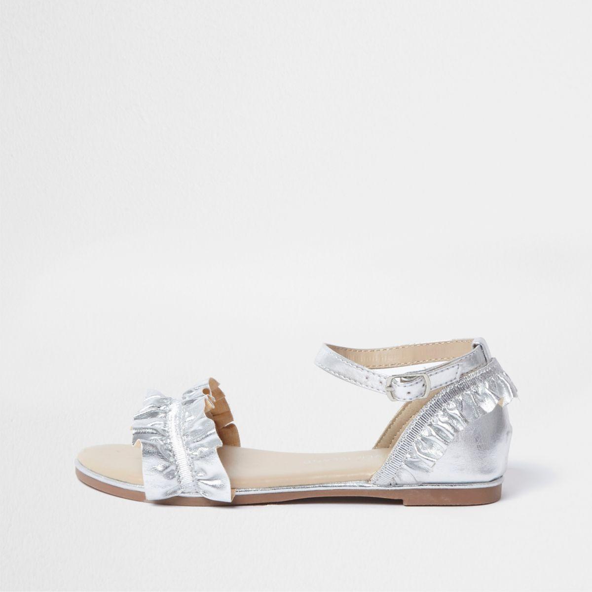 Girls silver metallic ruffle strap sandals