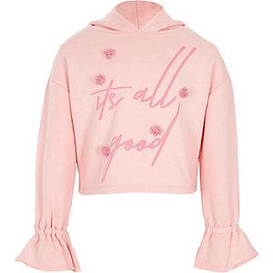 Roze cropped hoodie met 3D bloemen voor meisjes