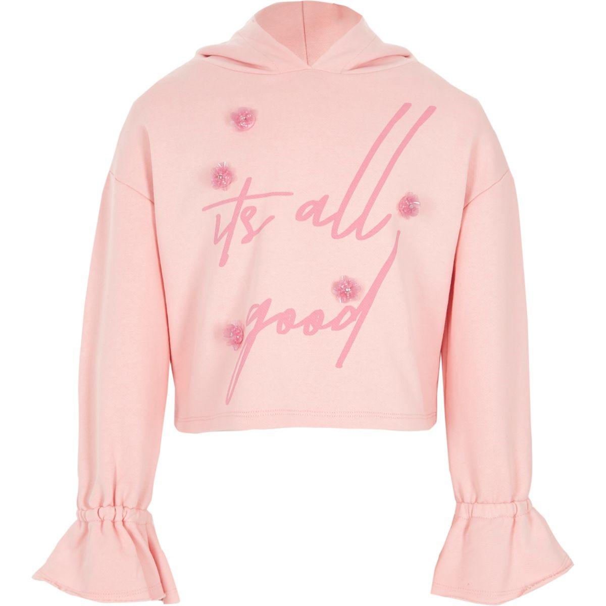 Girls pink 3D flower cropped hoodie