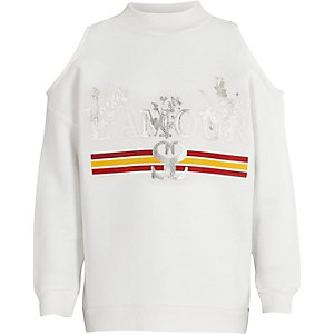 Girls white 'amour' cold shoulder sweatshirt