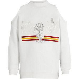 Wit schouderloos sweatshirt met 'Amour'-print voor meisjes