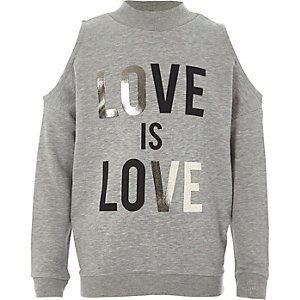 Girls grey 'love' cold shoulder sweatshirt