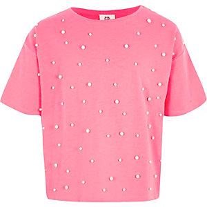 Girls pink faux pearl embellished T-shirt