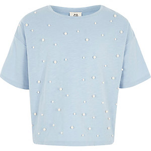 Girls blue faux pearl embellished T-shirt