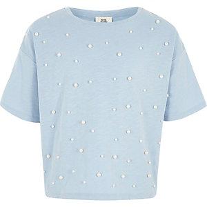 Blauw verfraaid T-shirt met imitatiepareltjes voor meisjes