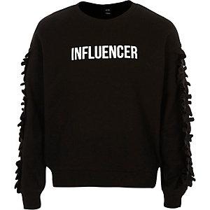 Girls black 'influencer frill sweatshirt