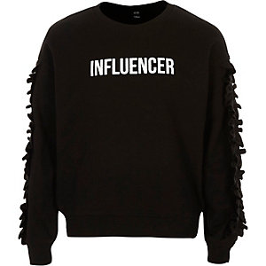 Sweat « Influencer » noir à volants pour fille