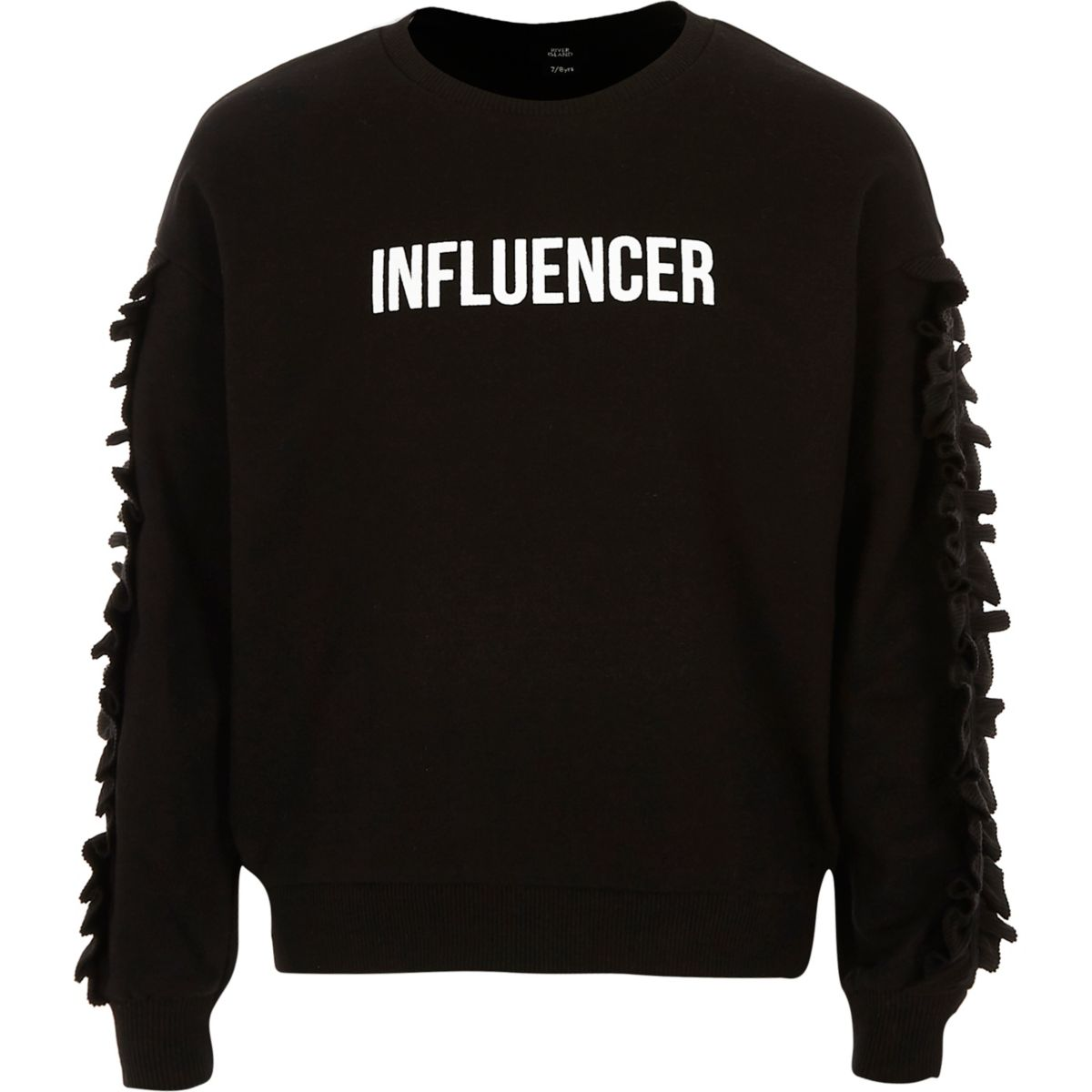 Girls black 'influencer frill sweatshirt