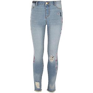 Molly - Blauwe slim-fit jeans met aztekenprint voor meisjes
