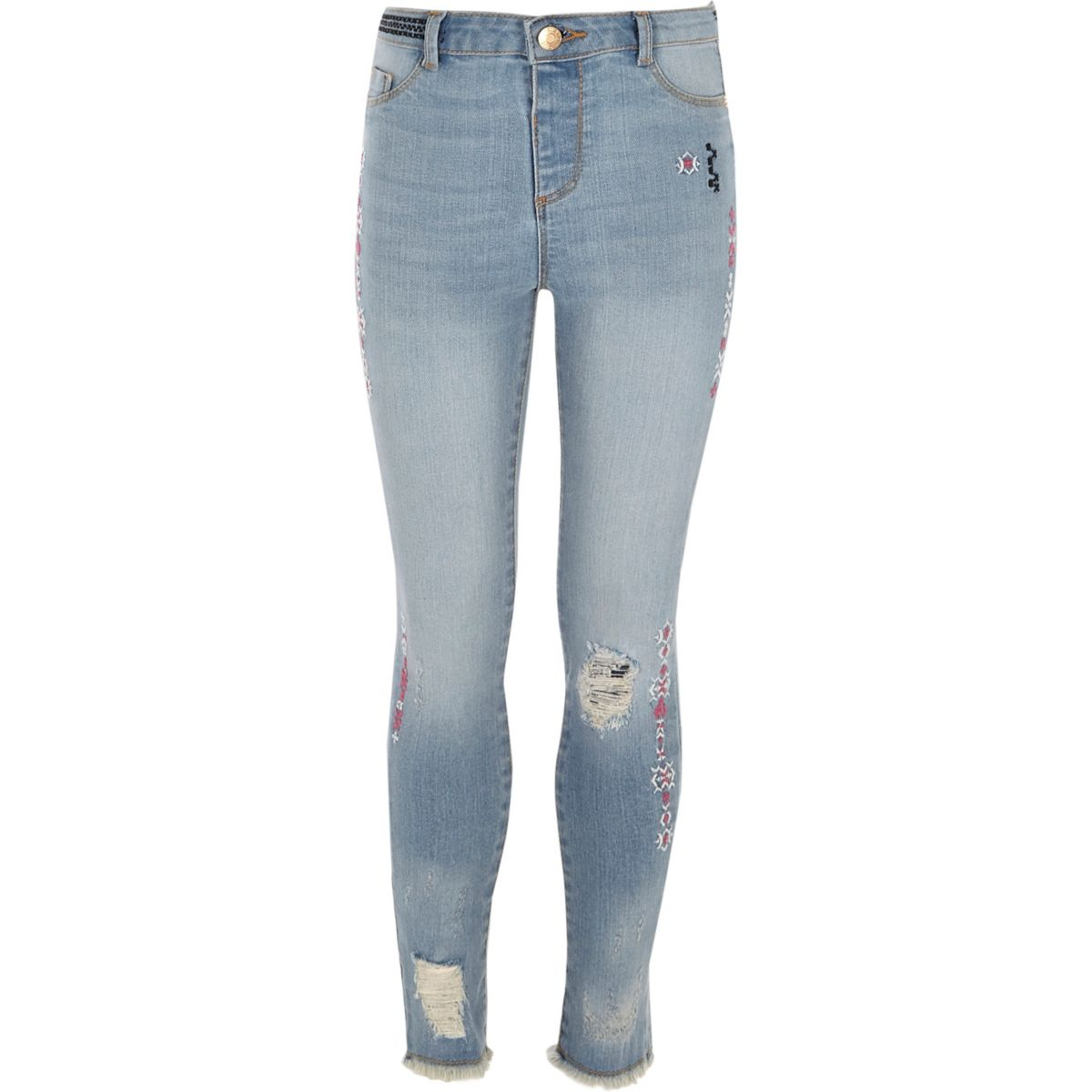 Girls blue Molly slim aztec print jeans
