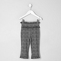 Mini girls grey check ruffle waist leggings