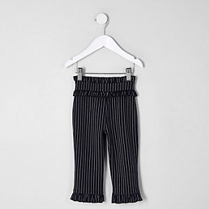 Mini girls navy pinstripe ruffle trousers