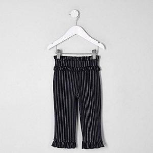 Pantalon à fines rayures bleu marine à volants mini fille