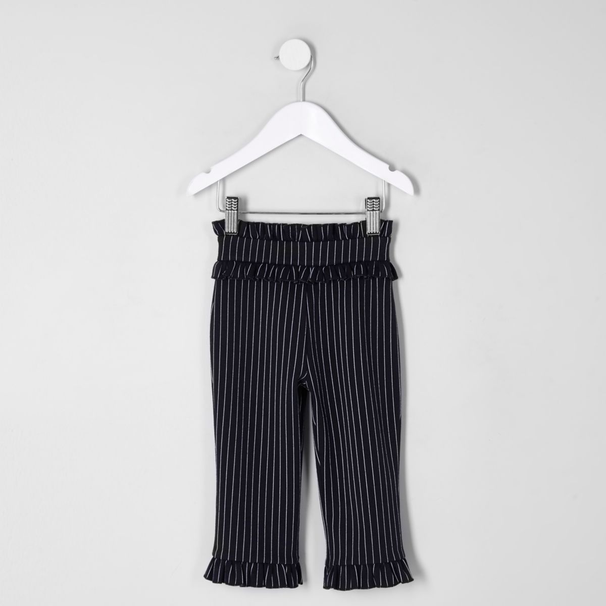 Mini girls navy frill hem waistband pants