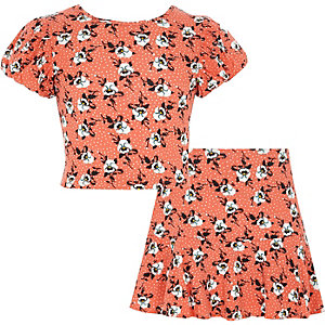 Girls orange floral crop top and skort outfit