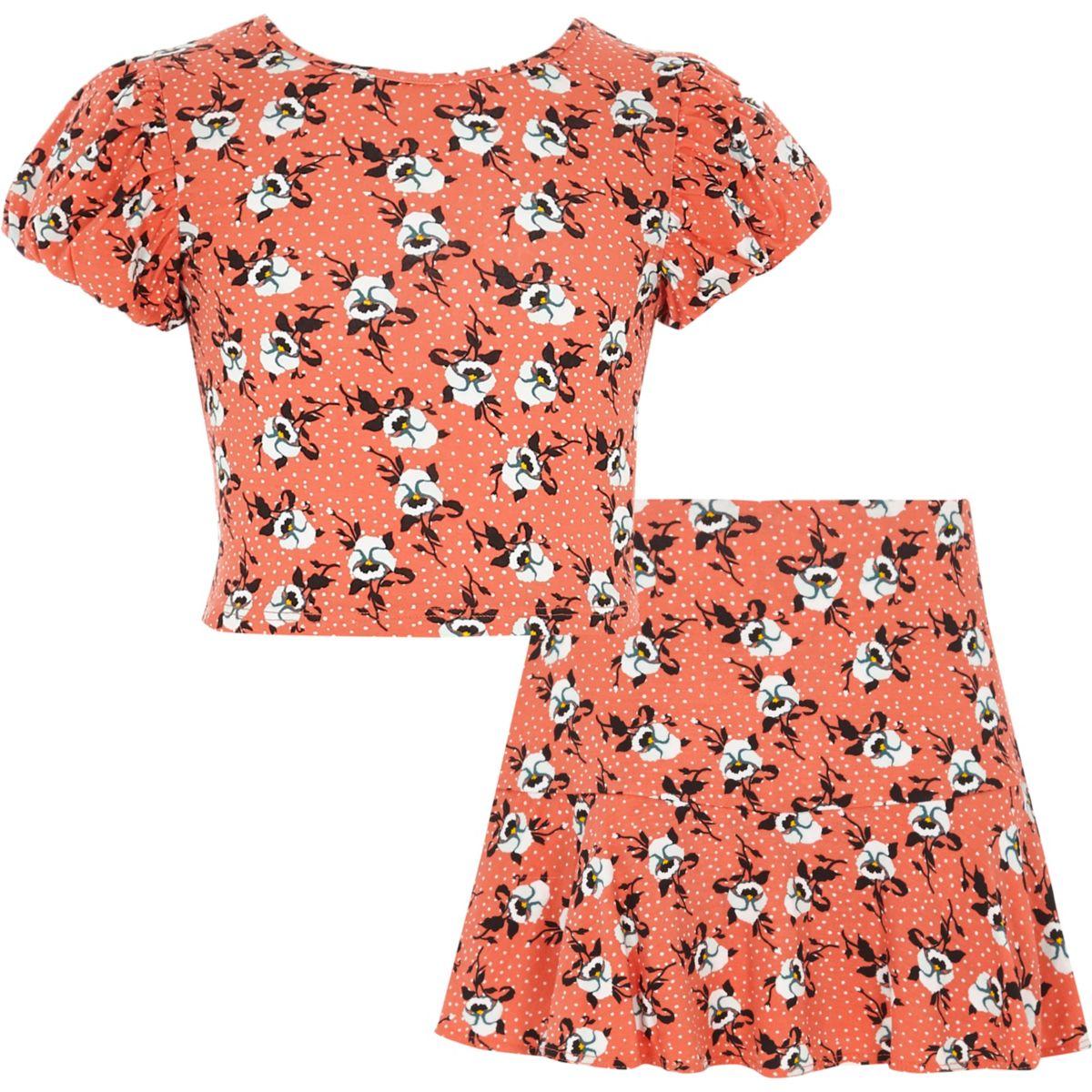Girls orange floral crop top and skort outfit