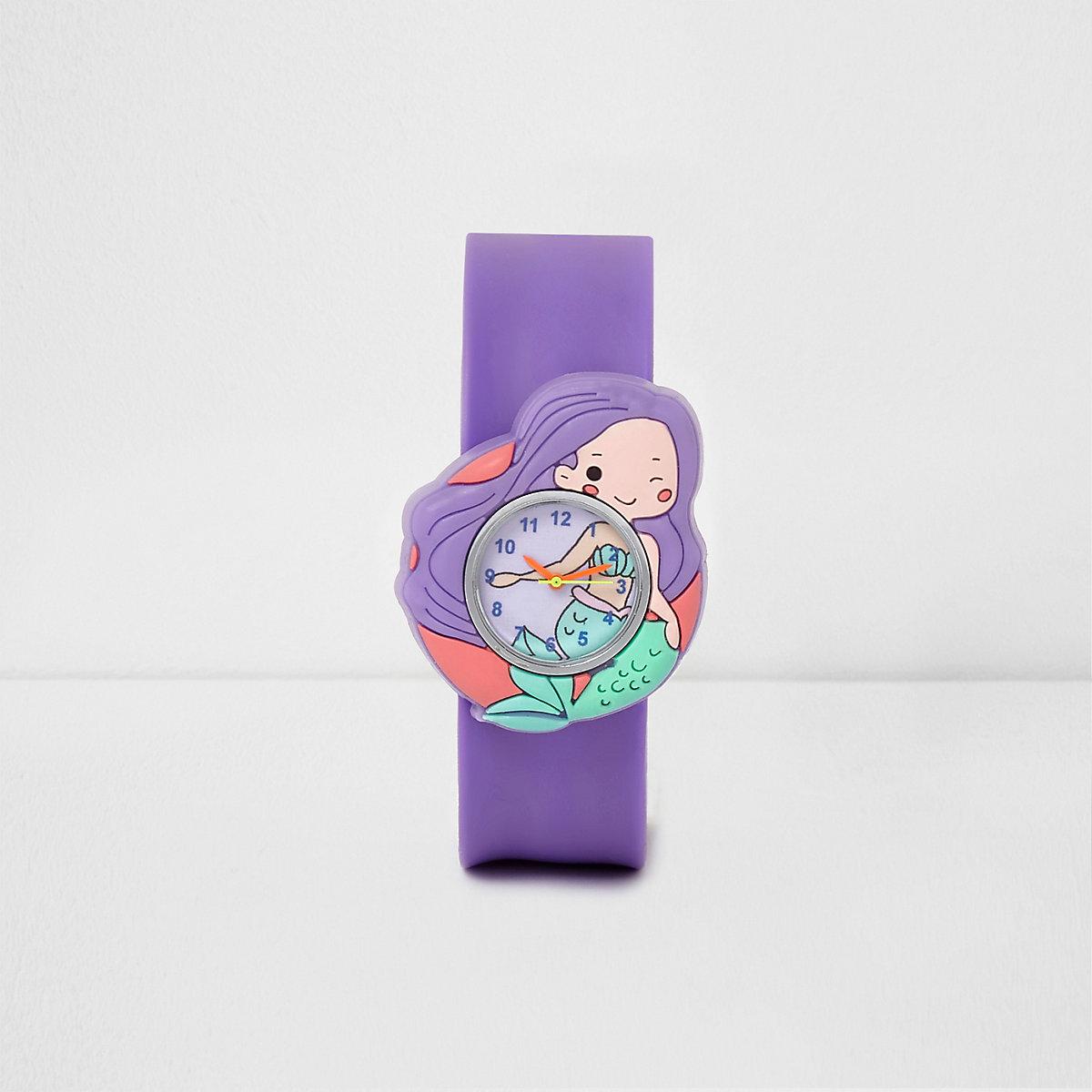 Girls purple mermaid snap on watch