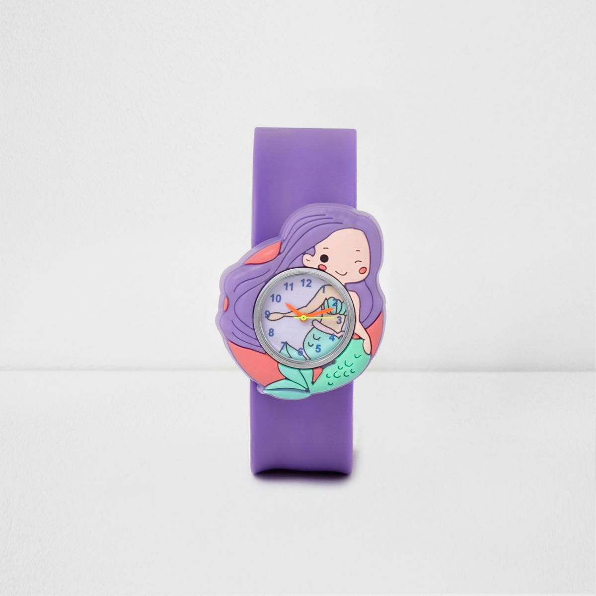 Girls purple mermaid snap on watch