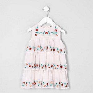 Mini girls cream embroidered shift dress
