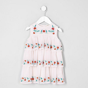 Mini - Crème geborduurde jurk voor meisjes
