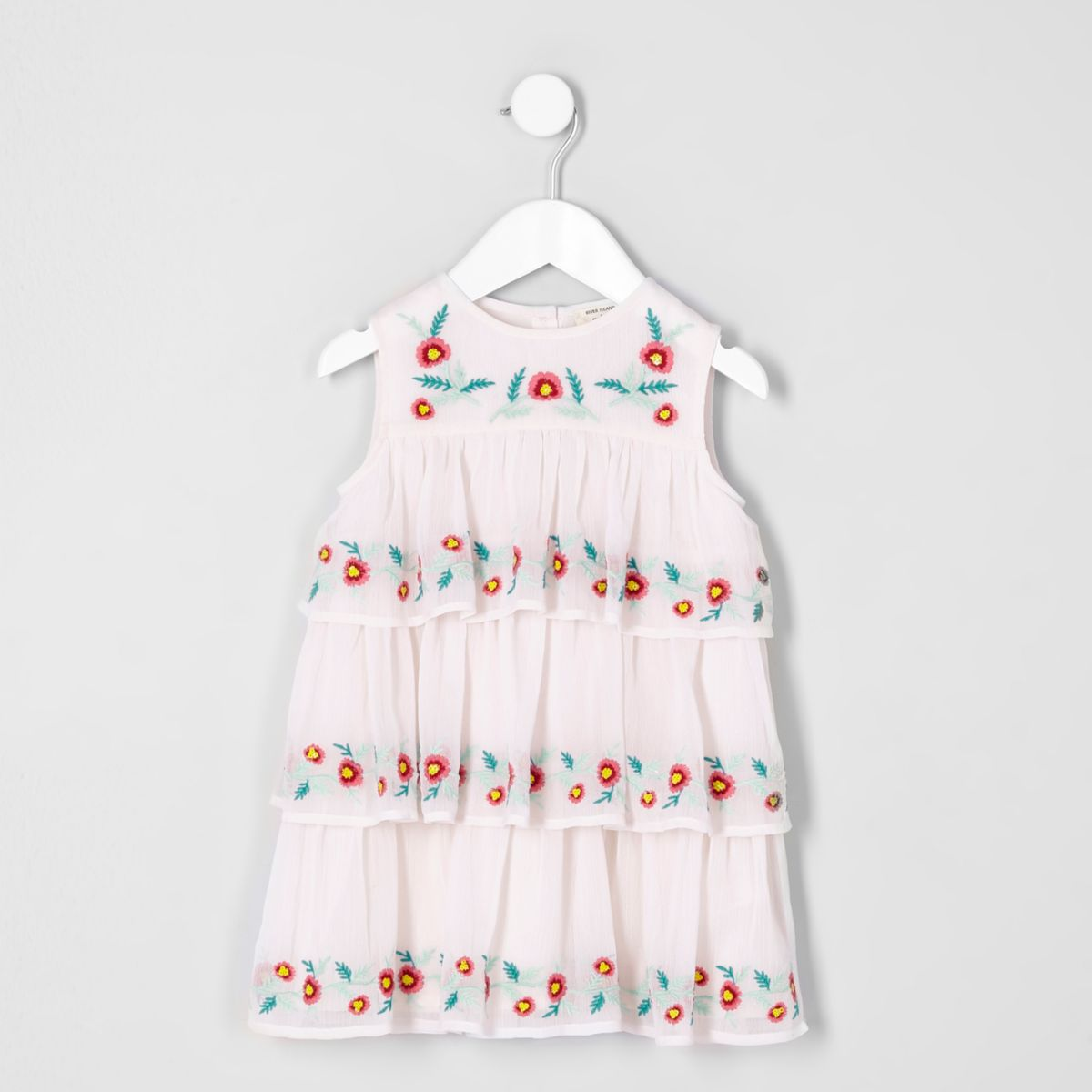 Mini girls cream embroidered shift dress