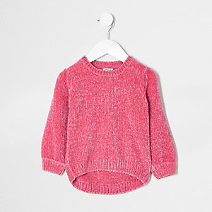 Pull en maille chenille rose mini fille