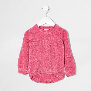 Mini - Roze chenille gebreide pullover voor meisjes