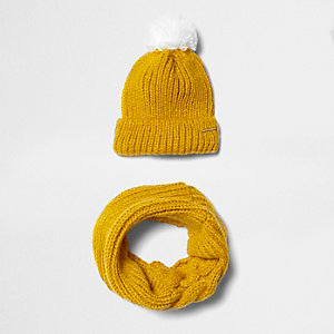 Ensemble écharpe-tube et bonnet à pompon jaune moutarde fille