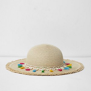Girls beige tassel trim beach hat