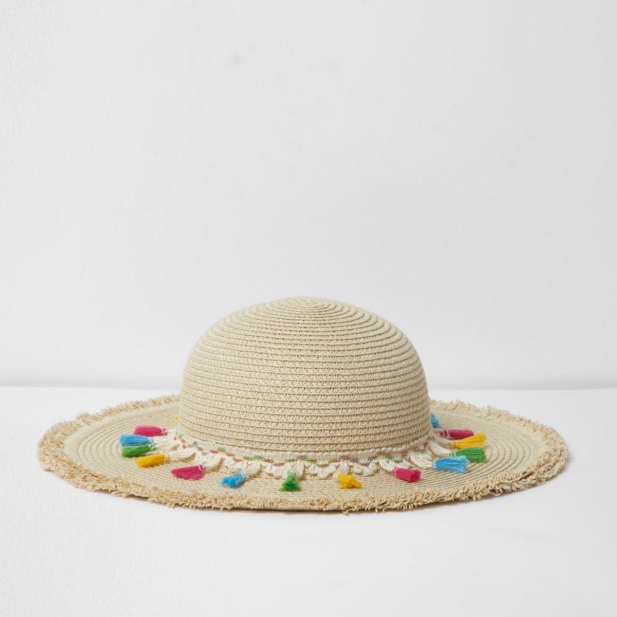 Girls beige tassel trim beach hat