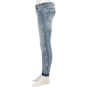 Amelie - Blauwe skinny jeans met drukknopen voor meisjes