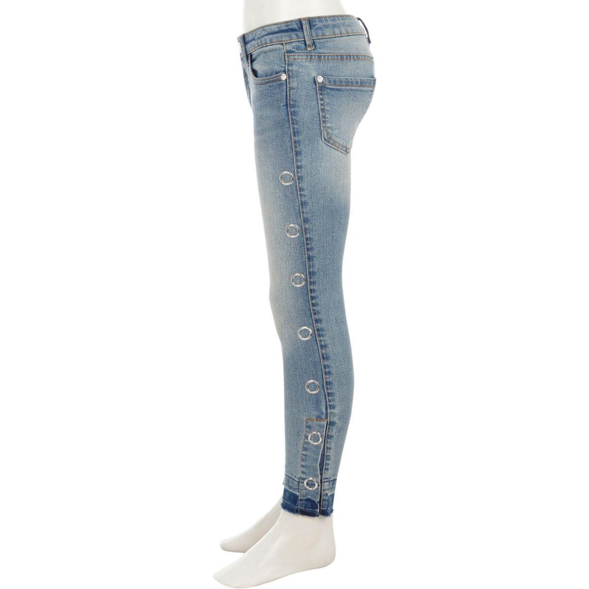 Amelie – Jean skinny bleu à pressions sur le côté pour fille