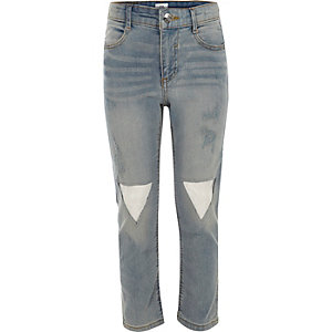 Girls transparent patch straight leg jeans