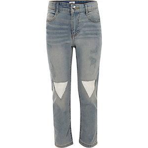 Girls transparent patch straight leg jeans